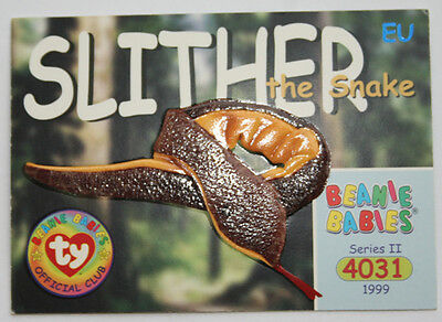 TY Beanie Card II 1999 4031 Slither Snake