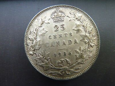 "1936 Canada 25 Cent  ""bar""  Quarter Very Nice Details"