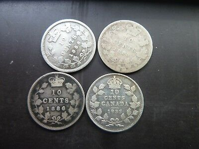 1858 1886 1899 1935 Canada 10 Cent Coins