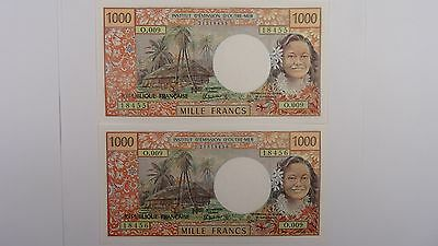 Tahiti 1985 1000 Francs Consecutive Pair of Banknotes in Uncirculated Condition