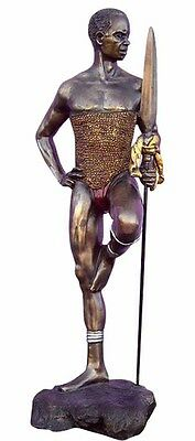 Dika Warrior Holding a Spear Statue 12 Inch Cold Cast Bronze Finish (2083) NEW