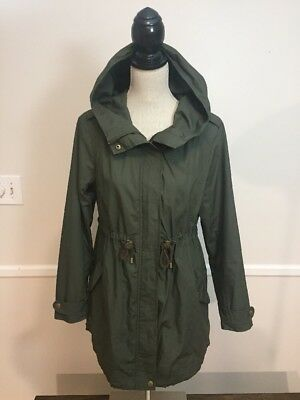 H&M MAMA Maternity olive army green trench /  hooded jacket - Size Small