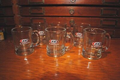 "Set of 6 Classic Small 3 1/4"" A&W Root Beer Sample Mugs All American Food"