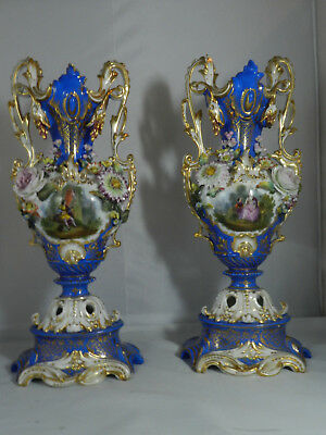 Old Paris Porcalein Urns Vases Pair Applied Flowers And Scenes 17 1/2""