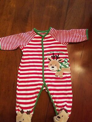 EUC Little Me 3 month Baby's first Christmas pajama onsie