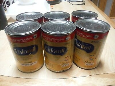 Lot of 6 Cans Enfamil Infant Formula Milk-Base W/Iron Concentrated Liquid 13 oz