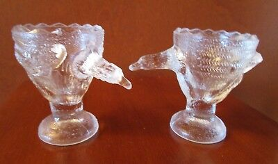 Pair Of Vintage Sawtooth Edge Glass Ducks/geese Egg Cup Holders