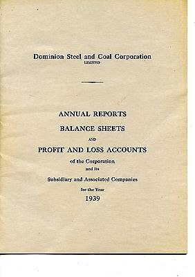 Old annual report DOMINION STEEL AND COAL CORPORATION LTD. 1939