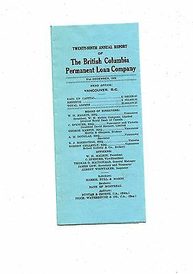 Old annual report  THE BRITISH COLUMBIA PERMANENT LOAN COMPANY 1926