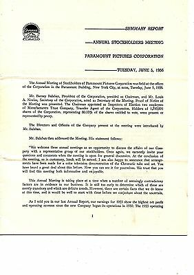Old annual report Paramount Pictures 1956