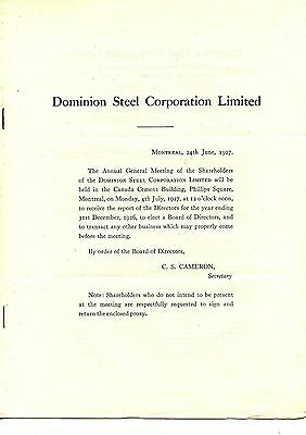 Old annual report Dominion Steel Corporation Limited 1927