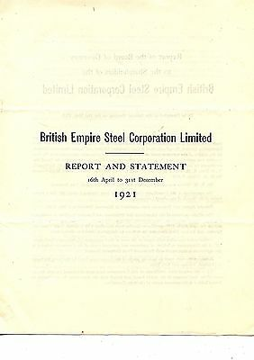 Old annual report British Empire Steel Corporation Limited 1921