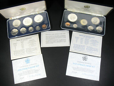 1973, 1974 Jamaica Silver Proof Sets, 3.6306 asw total