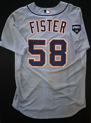 Doug Fister Detroit Tigers Game Used Worn Jersey MLB Authenticated 2011 Playoff