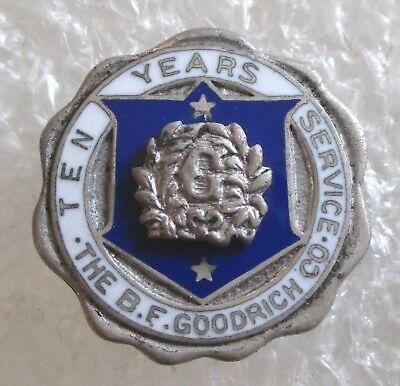 Vintage B.F. Goodrich Co. Tires 10 Year Employee Service Award Sterling Pin