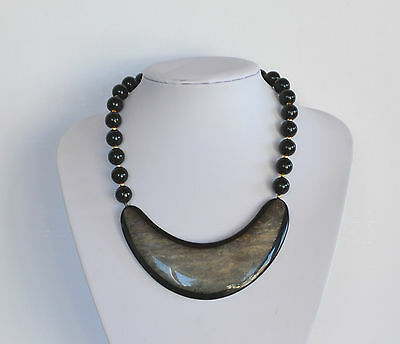 VINTAGE marbled gold & black lucite plastic resin statement NECKLACE 18'' inches