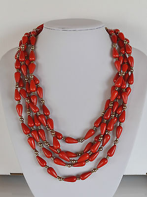 AMAZING VINTAGE RED plastic PEAR DROP BEAD STATEMENT NECKLACE 5 ROW TOGGLE CLASP