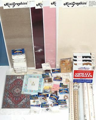Huge Lot of Assorted Dollhouse Miniatures Carpet Furniture Accessories & More