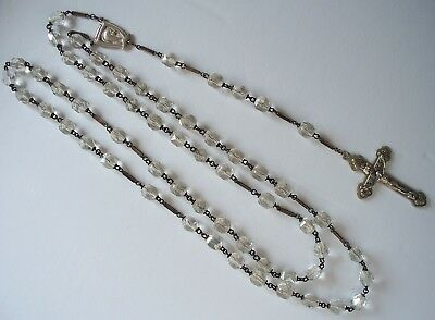 Vintage Sterling Silver Glass Beads Rosary / France ?