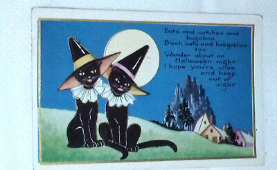 Vintage Halloween Postcard Two Black Cats Dressed-up. Whitney Made