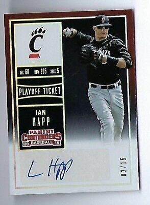2015 Panini Contenders Ian Happ Auto Rookie Serial Numbered 2/15 Chicago Cubs