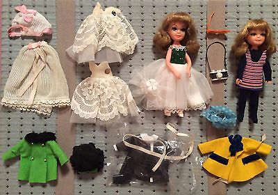 Vintage Lot Uneeda Tiny Teens Dolls with Travel Case and Various Doll Clothing