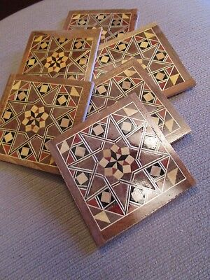 Set Of 6 Wooden Inlaid Marquetry Drink Coasters