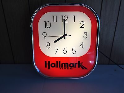 Hallmark Tires Lighted Advertising Shop Store Sign w/ Clock Rare