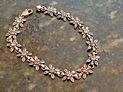 Vintage flower WITH PINK GEM STONES bracelet marked 925 Silver + HALLMARK UNREAD