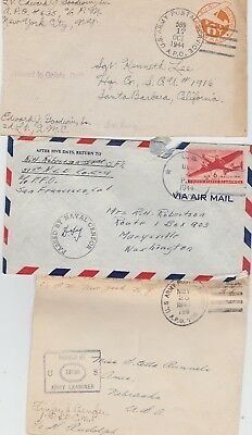 U.S.A. Military cover 1943/4/5 ~ A.P.O.and Navy ~ Military Postal History X3