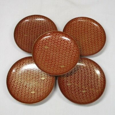 B281: Japanese old lacquerware five plates with good MAKIE