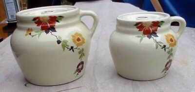 vintage hall pottery china bean pot set of two sm & lg floral radience radiance