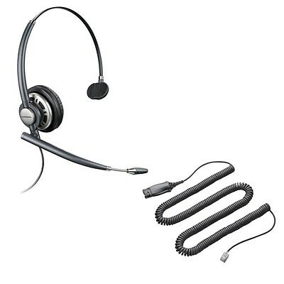 New Plantronics Encore Pro HW291N HW710N Telephone Headset & Bottom Curly Cable