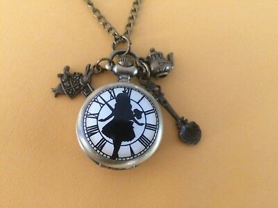 Steampunk Alice in Wonderland Quartz Watch Necklace with Teapot & spoon Charms