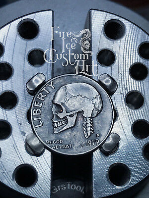 Original Hobo Nickel #3 Skull Coin Art Hand Carved By Fire & Ice Custom Art