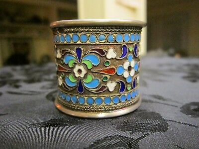 **vintage** Russian Silver 84 Enameled Napkin Ring