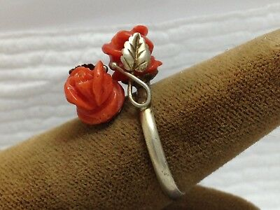 Antique Chinese 800 Silver & Salmon Coral Roses With Leaf Design Ring (Size 7)