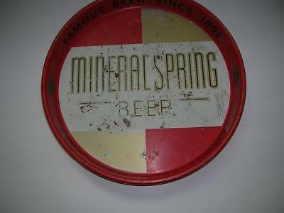 Vintage Mineral Spring Brewing Co. Red & Gold Beer Tray, Mineral Point Wisconsin