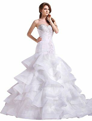 Sweathear Wedding Dresses White/Ivory Crystal Bridal Ball Gowns Custom Size2-28