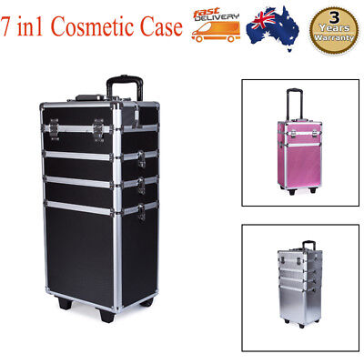 NEW 7 In 1 Portable Cosmetics Beauty Case Makeup Box Carry Bag Organiser Trolley