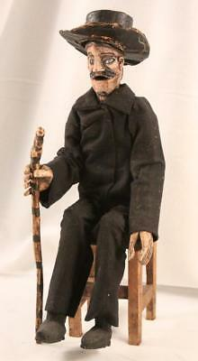 Vintage Catrin Figurine on Chair Hand Crafted All Wood Day of the Dead Mexico