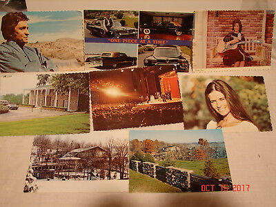 8 Vintage Johnny Cash & June Carter Postcards Photos And House And Car