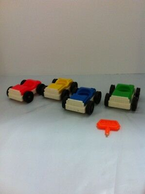 Lot Vintage FISHER-PRICE LITTLE PEOPLE GARAGE SERVICE CENTER Red Blue Yellow Blu