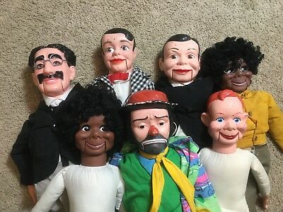 7 VENTRILOQUIST DUMMY DOLL LOT LESTER CHARLIE McCARTHY EMMET KELLY GROUCHO+MORE