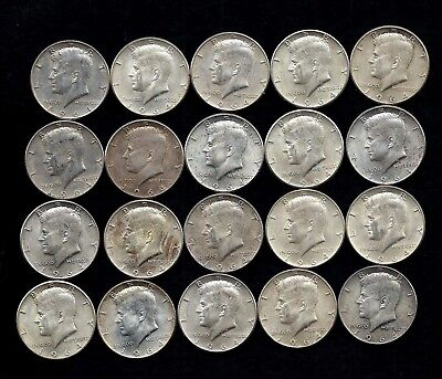 One Roll 1964 Kennedy Half Dollars 90% Silver (20 Coins)   Lot B58