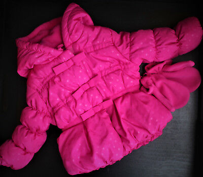 Rothschild Baby Girl Pink Winter Coat Hooded Jacket  Polka Dot Size 12 Months