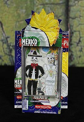 Day of the Dead Wedding Couple Skeleton, Recycled Tin Reliquary Niche Mexico