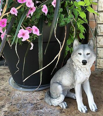 "Large 14"" Tall Sitting Gray Wolf Statue Figurine Hunter Gift Cabin Patio Garden"