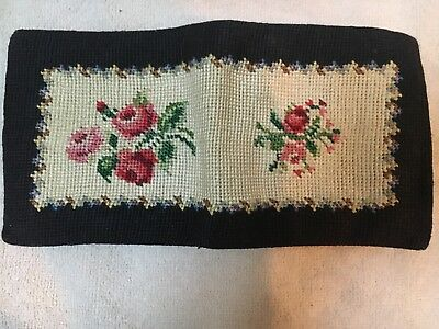 Vintage 1950s Petit Point Roses Stitched Wallet, Billfold, Coin Purse