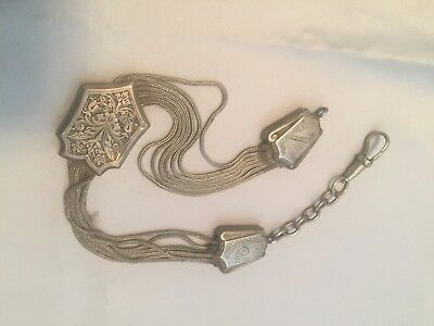 Victorian Style Silver Albertina Fob Watch Chain